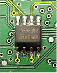 in-circuit eeprom with backfeeding connections