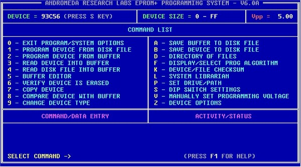 Software command list